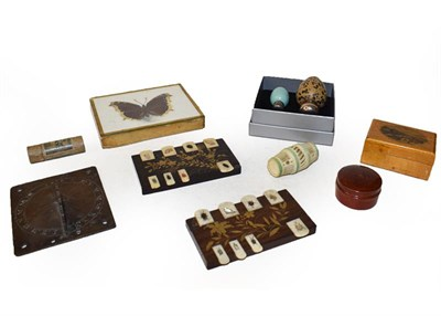 Lot 62 - A tray of collectables including: two Victorian porcelain egg formed scent bottles, two...