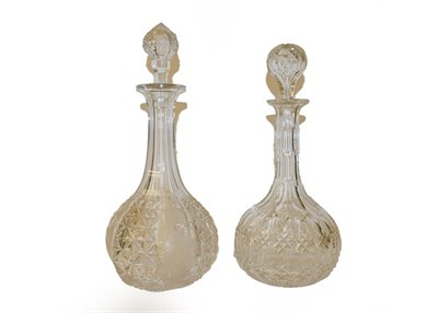 Lot 63 - Four glass decanters including Georgian examples, a Caughley plate in Chantilly Sprig pattern,...