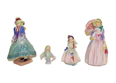 Lot 64 - Three Royal Doulton figures, ''Pantalettes'', ''Miss Demure'' and ''Babie'' and a Continental...