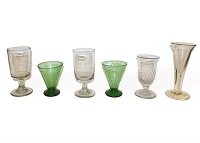 Lot 67 - A collection of mainly 19th century glassware including glass rinsers, a large ale glass on...