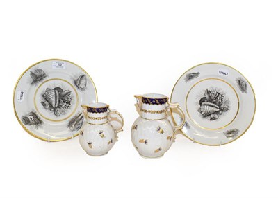 Lot 69 - A pair of Barr Flight and Barr Worcester plates, bat printed with shells under gilt bands,...