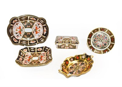 Lot 72 - A group of five Royal Crown Derby pieces including an oblong trinket box and cover, a square...