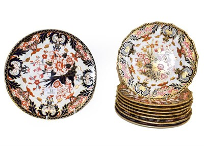 Lot 73 - A Royal Crown Derby part dessert service, Imari pattern including eight plates 22cm diameter,...