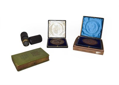 Lot 74 - A tray of assorted collectables including a live steam tank engine, two cased bronze medical medals