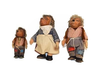 Lot 76 - Steiff vinyl Mecki and Micki large figures, smaller Mecki, Macki and Mucki, Lucki the gnome and...