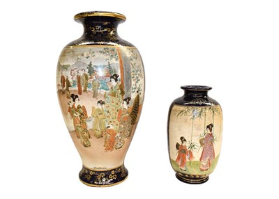 Lot 78 - Two Japanese Meiji period Satsuma vases, a small Moorcroft vase in the orchid pattern, a pair...