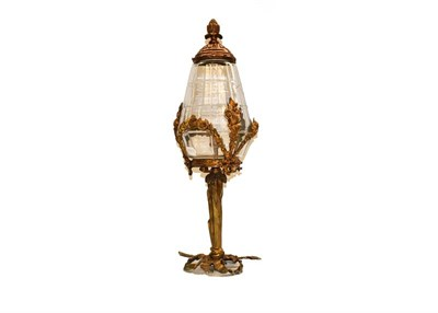 Lot 79 - A French ormolu and glass lamp with ribbon and foliate swag detail, 55cm high