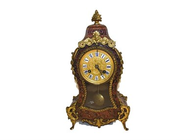 Lot 80 - A 19th century French boulle cased mantel clock striking on a bell with gilt mounts, enamel...