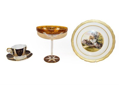 Lot 85 - A quantity of ceramics and glass including a pair of 18th century Chinese plates, Royal Chelsea...