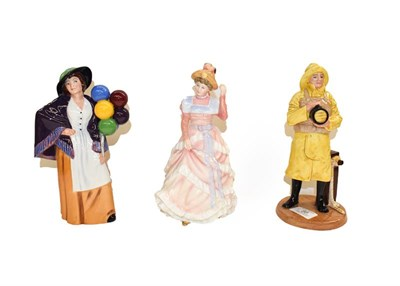 Lot 86 - Three Royal Doulton figures, Lifeboat Man HN4570, Balloon Lady HN2935 and Sharon HN3603 (3)