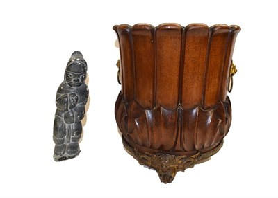 Lot 88 - A pair of Empire style bronze candlesticks (converted), a carved mahogany planter with gilt...