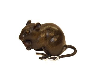 Lot 92 - A Japanese bronze model of a rat feeding on a nut, 16cm (a.f.)