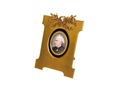 Lot 93 - A German porcelain oval plaque, late 19th century, painted with a bust portrait of a gentleman,...