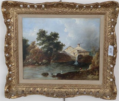 Lot 1016 - English school (19th century) Mill scene, indistinctly signed, oil on panel, 24cm by 29.5cm