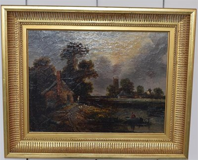 Lot 1018 - Norwich School (19th century) Country landscape with church and windmill, oil on canvas, 29cm...