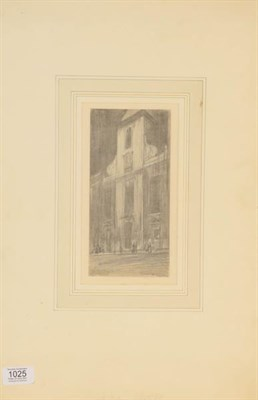 Lot 1025 - Sir Muirhead Bone (1876 -1953) St Martins, signed and inscribed pencil sketch, 20cm by 9.75cm
