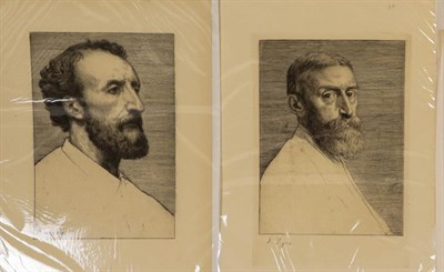 Lot 1026 - Alphonse Legros (1837-1911) Portrait of Sir Edward John Poynter, signed, etching, together with...