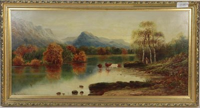 Lot 1028 - William James Smith Crampton (British, 1855-1935) Highland cattle watering, a pair, signed oil...