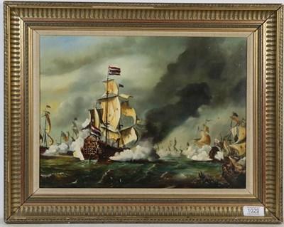 Lot 1029 - Sullivan (Contemporary) Marine battle scene, oil on board, signed, 28.5cm by 38.5cm