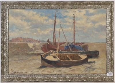 Lot 1031 - Dutch school (20th century) Boats on the shore, oil on canvas, indistinctly signed, 39cm by 59cm