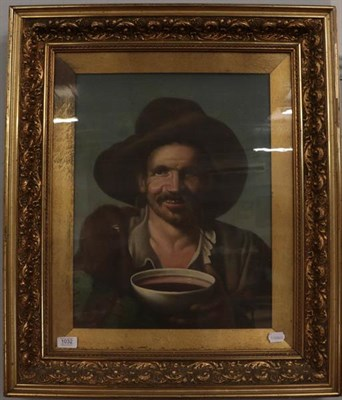 Lot 1032 - Early 20th century, Continental school, Spanish(?), portrait of a man drinking broth from a...