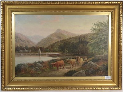 Lot 1033 - Dunnington, Highland cattle being driven by a river side, oil on canvas, 40cm by 60cm
