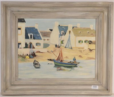 Lot 1035 - French school (20th century) Naive painting of boats, oil on board,  35cm by 44cm