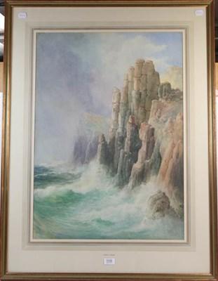 Lot 1036 - John Clarkson Uren (1845-1932) Rocky coastal view, signed, watercolour, 77cm by 54cm