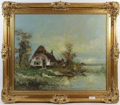 Lot 1037 - Hendrik Van Dongan (Dutch, b.1909) River Landscape, signed, oil on canvas