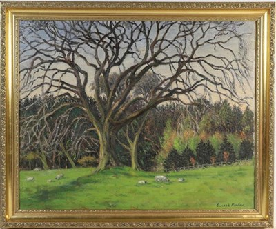 Lot 1042 - Ernest Forbes RBA (1879-1962) Landscape with sheep grazing beneath an oak tree, signed, oil on...