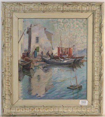Lot 1043 - E Blanche (20th century French) Boats at a village dock, oil on canvas, 38cm by 32cm