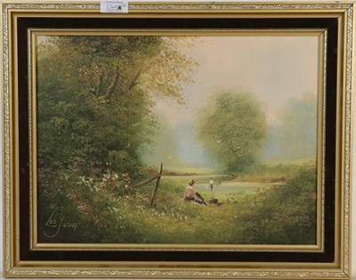 Lot 1045 - Ted Dyer (b.1940) River landscape, signed, oil on canvas, 50cm by 75cm, together with Les...