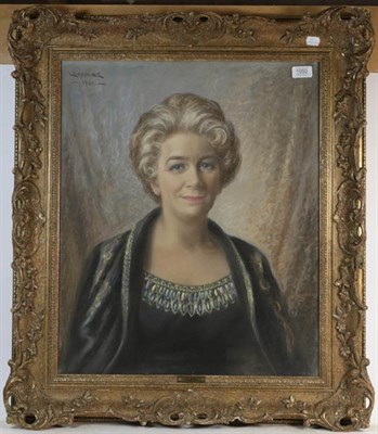 Lot 1050 - Lorraine (20th century) Portrait of Muriel Kemp, pastel, 59.5cm by 49.5cm, together with a...