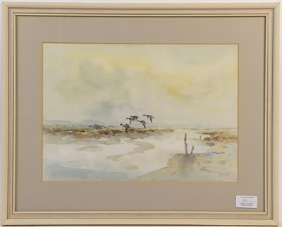 Lot 1051 - Jack Cox (Contemporary) Ducks flying across a landscape, signed oil on board, 54.5cm by 75cm,...