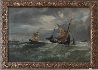 Lot 1057 - English school (late 19th/early 20th century) Ships in a storm off the coast, oil on canvas,...