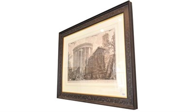 Lot 1058 - A large 18th century engraving after Piranesi, 62cm by 80.5cm, together with a further print...