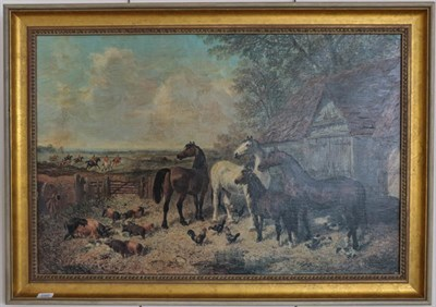 Lot 1060 - After J F Herring, Horses before a barn with the hunt in the distance, print on canvas, 59cm by...