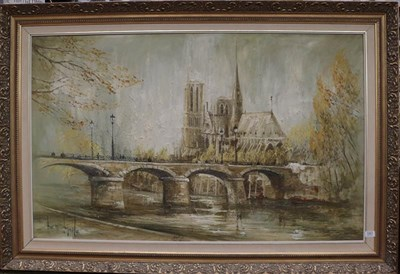 Lot 1061 - Ben Maile (b.1922) Notre Dame from the Seine, signed, oil on canvas, 75cm by 120cm  Artist's Resale