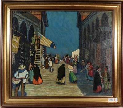 Lot 1063 - Rudolf Paul Hirschenhauser (b.1882-?) Rialto Bridge at Venice, signed and dated 1950, oil on...