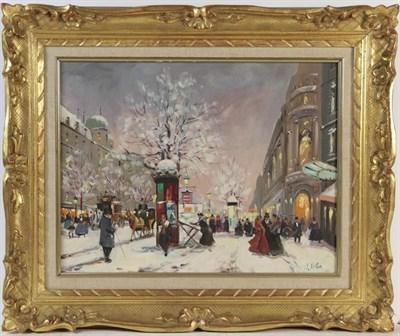 Lot 1064 - Four oils on canvas, comprising a ballet scene signed Vidal, a Parisian snow scene by Jesus...