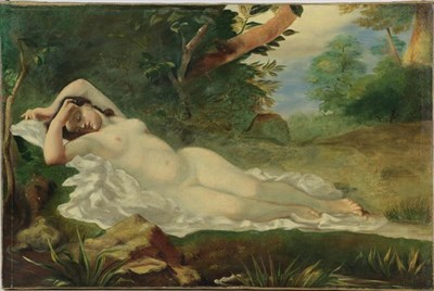Lot 1065 - Style of William Etty (early 20th century English school) Reclining female in landscape, oil on...