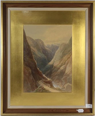 Lot 1067 - T Hart FSA (19th century) Alpine pass, signed watercolour on paper, heightened in white, 39cm...