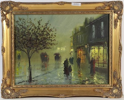 Lot 1068 - John Bampfield (b.1949) A pair of nocturne street scenes, signed, oil on canvas, 29cm by 39cm (2)