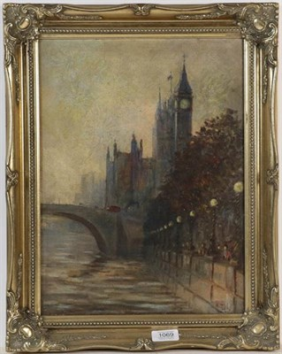 Lot 1069 - English School (20th century) Big Ben and Westminster Bridge early evening, indistinctly signed oil