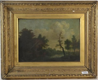 Lot 1072 - English school (19th century) River landscape with a fisherman, oil on board, label verso inscribed