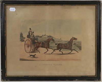 Lot 1076 - A set of four framed coaching prints after Alken, and five shooting prints after Alken in maple...