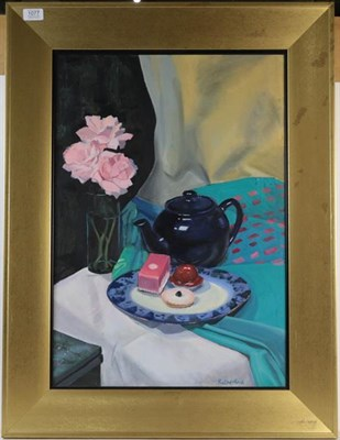Lot 1077 - Rutherford, still life, acrylic on board, signed, 63cm by 44cm