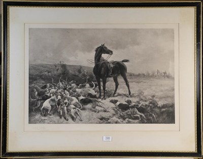Lot 1085 - After Alfred Strutt, The Hounds with their Prey, signed print, 52cm by 75cm