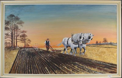 Lot 1086 - F G Sheppard, The Ploughman, signed oil on board, 64.5cm by 105cm