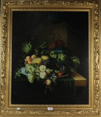 Lot 1087 - R Casper (Contemporary) Still life of fruit on a table, signed, oil on board, 75cm by 62cm